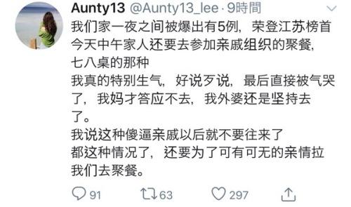 啁啾会馆用户 @Aunty13_lee 二零二零年一月廿六日关于武汉肺炎的啁啾